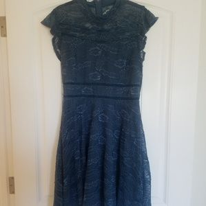 Teal Lace A-Line Dress